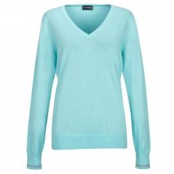 Pull Femme Golfino Col V Bleu Ciel