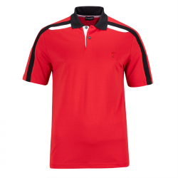 Polo Golfino Performance Contrast Rouge